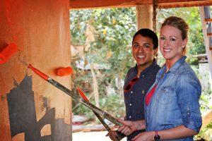 Volunteers on a Globe Aware service trip in Cambodia.